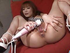 Japanese amateur sucking cock in threesome