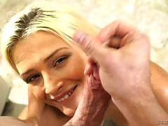 Dick gagging blonde aubrey gold has her face painted with jizz