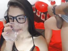 Brunette girl gives her bf an awesome blowjob