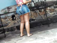 Big bubble ass cheeky wedgie latina short shorts
