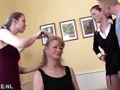 Mature babes teasing a young stud