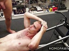 Hunk sexy ass gym instructor hands are full of two horny cock and he stroke blowjob