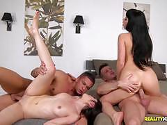 Getting inside the wet pussies of taissia shanti and natty mellow and cumswapping action