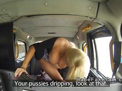 Big tits cab driver rides big black cock