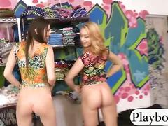Brunette and blonde babes threesome sex for some money