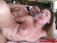 Throated babe facialized following rough bang