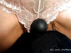 Milf rides vibe & squirts through lace panties, very wet & messy
