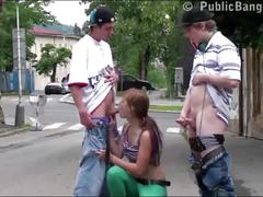 Cute young teen girl alexis crystal public street gangbang threesome fucking