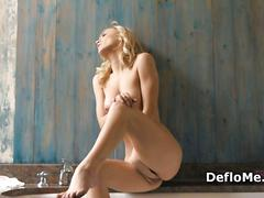Amazing blonde virgin masturbates to orgasm