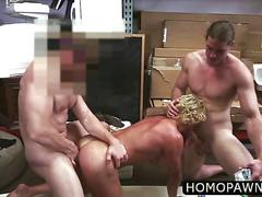 Long hair blonde muscle surfer dude takes cock and game for threesome in the shop
