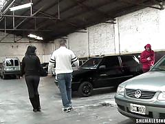 Big titted tranny anal fucked in parking lot