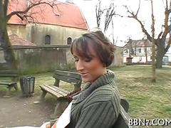 Brunette babe has a hardcore time as she gets payed