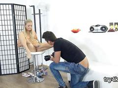 Shaved teen blonde stripped by photographer and fingered while going crazy