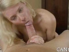 Tempting blonde with gaping ass gets fucked and fingered in close up
