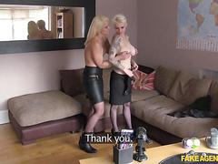Short haired blonde and milf in stockings fuck an agent