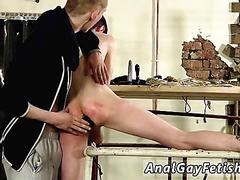 Slim twink gets his ass jammed with a dildo in bondage