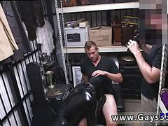 Pawn shop dudes dress up desperate dude in latex for fun