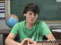 Twink gives a classroom interview before shooting a hot scene