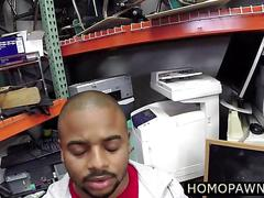 Fucking the black dude in a threesoem in the back office