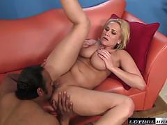 Horny alanah rae feasts on a monster thick cock