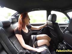 Redhead brit cocksucks cop in car before sex
