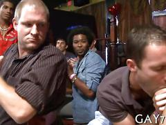 Twink kneels down before a stripper and gets a big facial