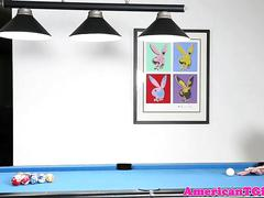 Alt tgirl masturbating on the pool table