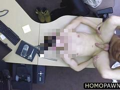 Old desperate man fucked the pawnshop owner in the ass after he blows his cock