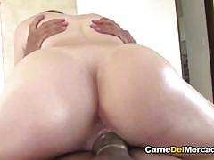 Sexy latina babe gets drilled and eats cum