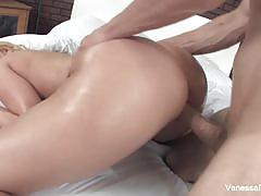 Vanessa cage oiled up for deep fucking