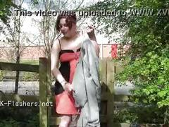 Public masturbation and flashing of british redhead isabel dean exposing pussy