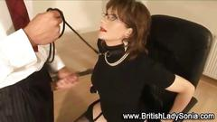 Mature lady mouth fucked with some glam style sucking