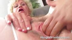 Blonde granny gives a good old blowjob