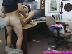 Facial cumshot for a broke hottie in a pawnshop