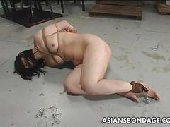 Pathetic asian slave gets whipped
