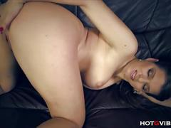 Sexy euro babe mona lee squirts on the couch.