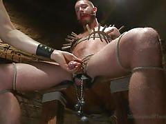 bdsm, tied up, basement, gay, ball gag, clothespins, weights, cbt, 30 minutes of torment, kink men, jordan foster