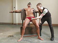 threesome, bdsm, vibrator, blindfolded, tied up, gay, men on edge, kink men, seth santoro
