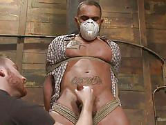 handjob, bdsm, tied up, gay, ball gag, muzzle, men on edge, kink men, brock avery