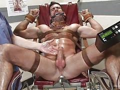 handjob, bdsm, gays, anal insertion, anal plug, gynecologist table, leather belts, mouth gagged, electricity, men on edge, kink men, billy santoro