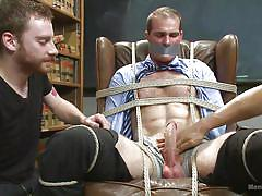 Tied on the armchair and sucked by a gay
