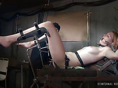 milf, bdsm, piercing, brunette, pussy gaping, bondage device, gynecologist table, metal speculum, electricity, infernal restraints, ashley lane