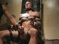handjob, bdsm, anal insertion, anal plug, gay, hunk, electrodes, electro bdsm, tied on chair, 30 minutes of torment, kink men, cameron kincade