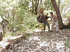 bdsm, outdoor, forest, blowjob, gays, tied up, ropes, trap, men on edge, kink men, jimmy bullet