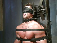 bdsm, blindfolded, gays, hunk, electrodes, cbt, tied on chair, 30 minutes of torment, kink men, trenton ducati