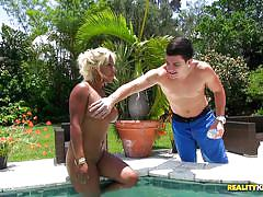 blonde, round ass, outdoor, latina, rimjob, blowjob, busty, piscine, 8th street latinas, reality kings, peter green, desiree lopez