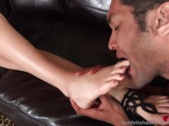 Alexa grace has feet worshipped and gives a footjob