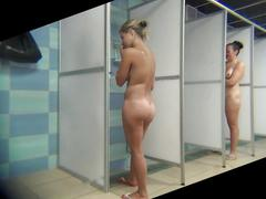 Peeping into the women's showers for beauty with big tits