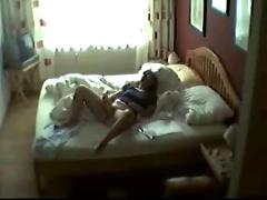 Caught my mom masturbating on her bedroom. hidden cam