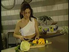 Hot babe fucked while cooking